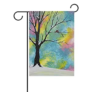 "ONEERA Tree Of Life Tree Art Weatherproof Polyester House Flag 28"" x 40"" Seasonal Garden Banner"