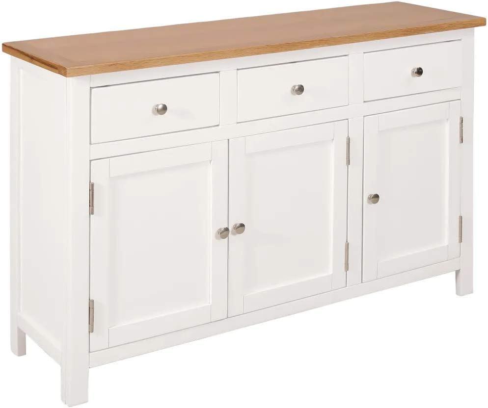 Cikonielf Aparador con 3 cajones y 2 armarios, armario lateral, estilo rústico, de madera maciza, para salón, comedor, pasillo, 110 x 33,5 x 70 cm – blanco y marrón
