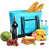YONOVO 25L Insulated Cooler Bag with Hard Bottom YKK Zipper and FDA Liner for Picnic Outdoor Party(Skyblue)