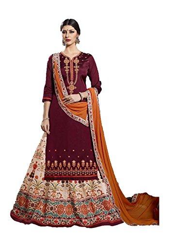 Indian Women Designer Partywear Ethnic Traditonal Maroon Anarkali Salwar Kameez by Dessa Collections