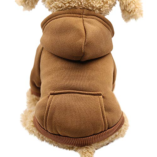 Dog Winter Warm Snow Sweater Coat Costume Apparel Sweatshirts with Pocket (XL, Coffee) ()