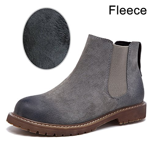 Gray Heel Boots Short Fleece Slip Ankle fereshte Bootie Chelsea on Women's Suede lined Low SwBxWZqPgA
