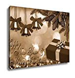 Ashley Canvas Happy New Year Merry Christmas New Years Card Christmas Card, Home Office, Ready to Hang, Sepia 20x25, AG6610846