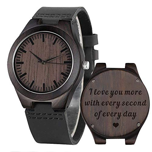 Engraved Wood Watches for Men Leather Strap - I Love You More Every Second - Personalized Gifts for Men Him Husband Gift - Ebony Black