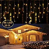 HUXICUI 10 Ft 96 Led Window Curtain Icicle String Lights for Wedding Party Home Garden Bedroom Outdoor Indoor Wall Decorations, Warm White
