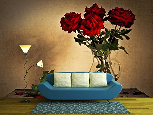 wall26 - Beautiful Still Life with Jug and White and Red Roses - Removable Wall Mural   Self-adhesive Large Wallpaper - 100x144 inches (Rose Florist Vintage)