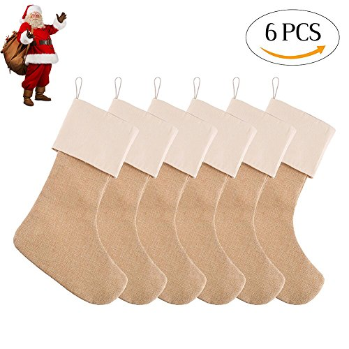 Toe Christmas Stocking (DECORA 21.5 inch Natural Jute Burlap Christmas Stocking for Gifts & Goodies Handmade Projects Set of 6)