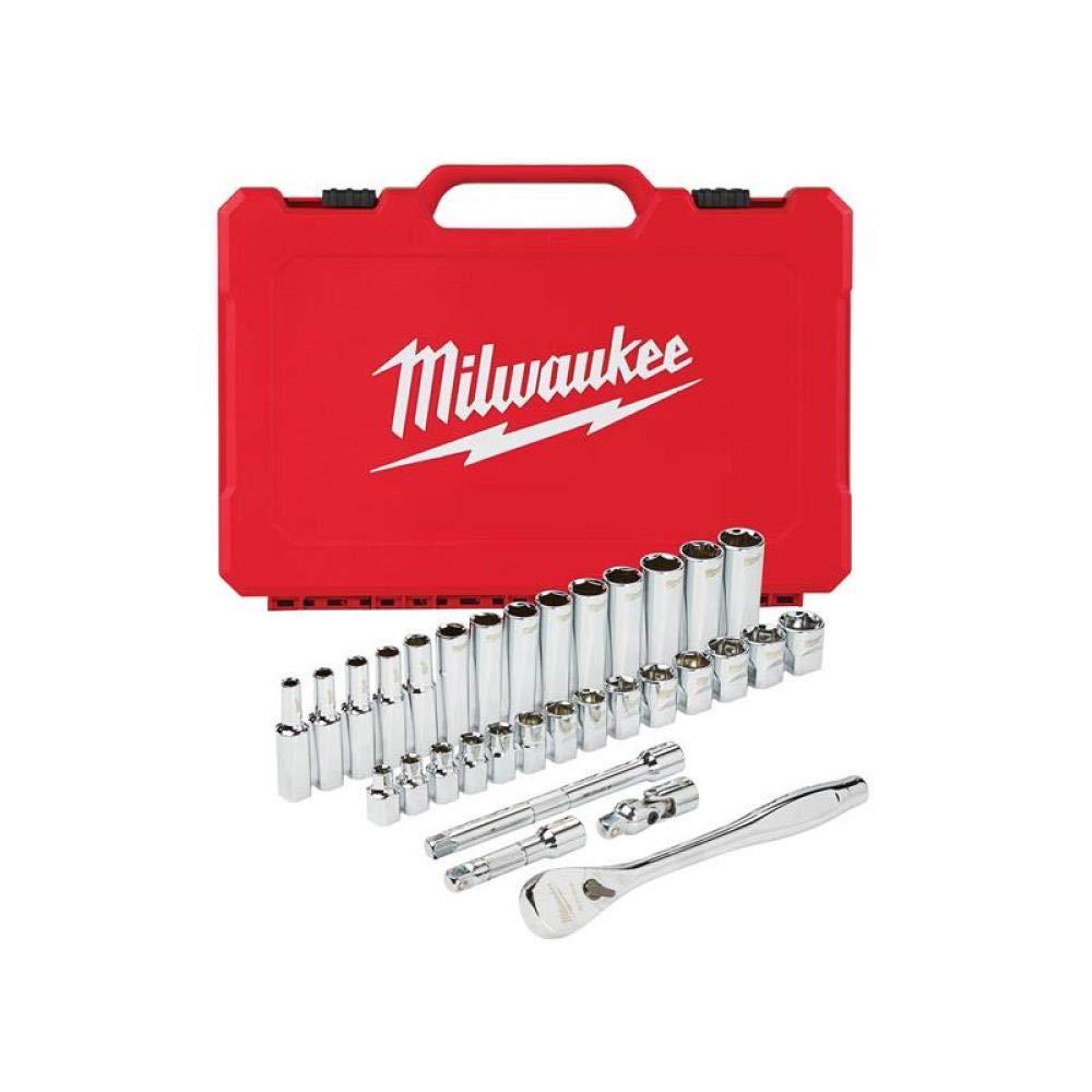 color rojo Juego de llaves de carraca Milwaukee 48229001 Tradesman 12 unidades, 3//8