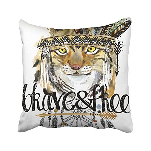 Emvency Lynx American Indian Chief Headdress War Bonnet Dream Catcher Native Animal Brave Free Hand Written Text Throw Pillow Cover Covers 20x20 inch Decorative Pillowcase Cases Case Two Side