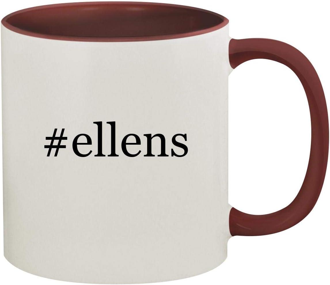 #ellens - 11oz Hashtag Ceramic Colored Inside & Handle Coffee Mug, Maroon