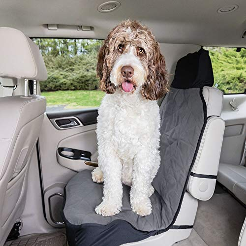 (PetSafe Solvit Premium Bucket Pet Seat Cover, 52 in. L x 22 in. W, Gray, Waterproof Dog Car Seat Cover for Cars, Trucks and SUVs)