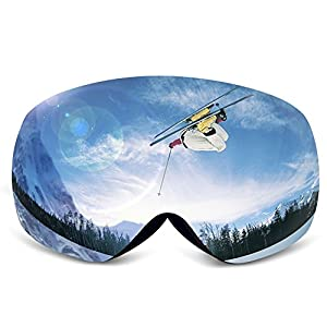 Ski Goggles,KAMUGO Snowboard Snowmobile Snow OTG Goggles with 100% UV400 Protection Anti-fog Spherical Frameless Detachable Dual Lenses Design for Men&Women