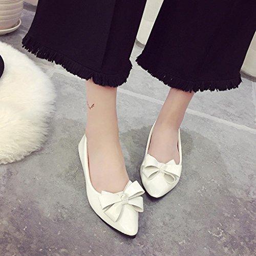 Damen Ballerinas PU Mädchen Slip Leder Halbschuhe Bowknot Clode® Pumps Ballerinas on Bootsschuhe Komfortable d64qvp