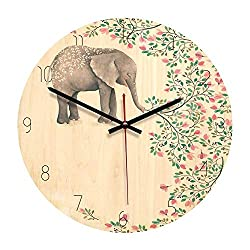 7Buy Wood Wall Clock, 11-inch Non-Ticking Silent Elephant Wooden Wall Clock for The Children's Room