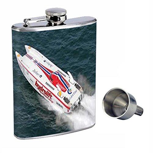 値引きする Perfection Inスタイル8オンスステンレススチールWhiskey Free Flask Flask with Free Funnel速度ボートdesign-018 with B0181MCE1Q, Abiding:76662fb9 --- beutycity.com