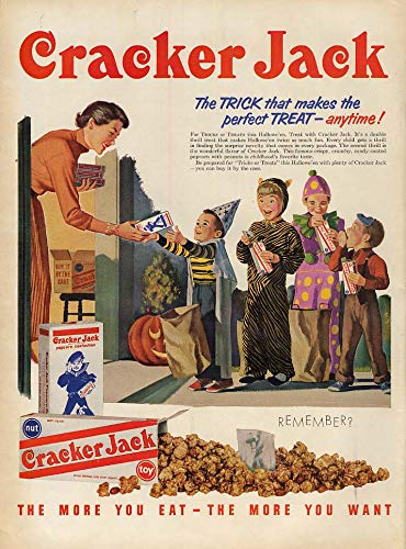 The trick that makes the perfect treat - anytime! Cracker Jack ad 1954 Halloween