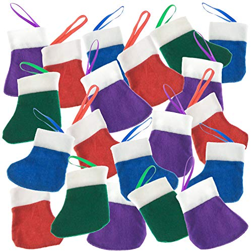 20 Christmas Mini Stockings - 3 Inch Felt Stockings - X-mas Stockings