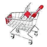 Rcool Mini Shopping Cart Toys Supermarket Handcart Shopping Utility Cart Mode Trolley Storage Basket Toy (Red)