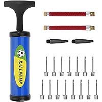 AODOOR Balpomp luchtpomp inflator kit met 15 stuks bal pomp naalden, 2 stuks mondstuk, 2 stuks verlengslang voor voetbal…