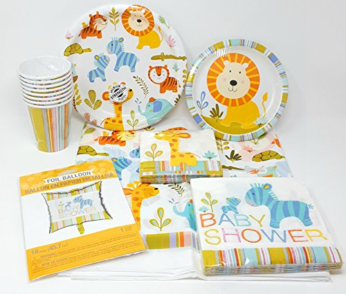 Happi Jungle Baby Shower Party Supplies 6-Piece Bundle, Including Disposable Plates, Napkins, Cups for 8; 1 Table Cloth-Balloon