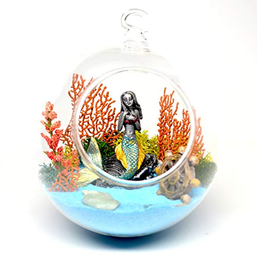 Pixie Glare Hanging Glass Terrarium Mermaid Kit. Under The Ocean Scene with Real Sea Fan, Dyed Sand, Pewter Mermaid and