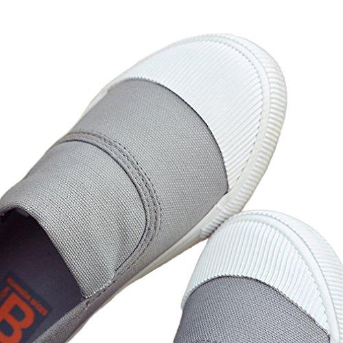 Sneaker Slip On Canvas In Tela Da Donna Royal Victory Con Plateau Grigio