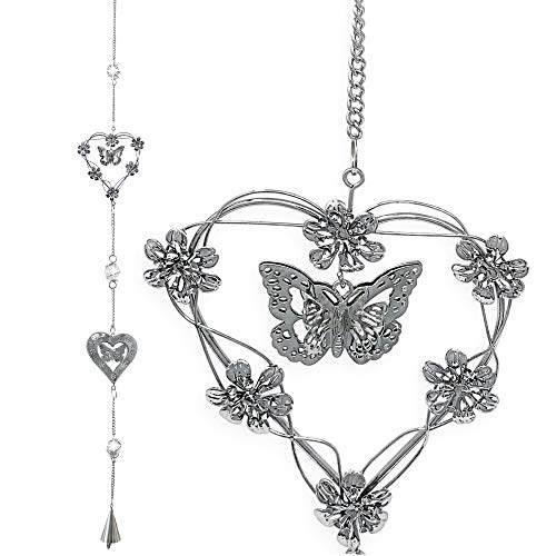 - BANBERRY DESIGNS Garden Chime Decor - Butterfly and Heart with Bell Mobile Decoration - Ideal Patio Gift - Metal Silver Hearts, Butterflies and Flowers - 40