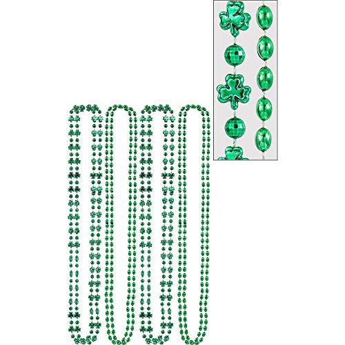 St. Patrick's Day Green Plastic Shamrock Bead Necklace Pack, 8 Ct. | Party Accessory