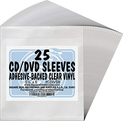 Adhesive Cd ((25) Adhesive Backed Clear Sleeves for CDs or DVDs #CDIVSB)