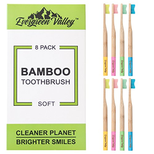 Evergreen Valley Natural Bamboo Toothbrush - Soft Nylon-4 Bristles, BPA Free, Biodegradable, Organic Eco Friendly, Pack of 8 (Soft)