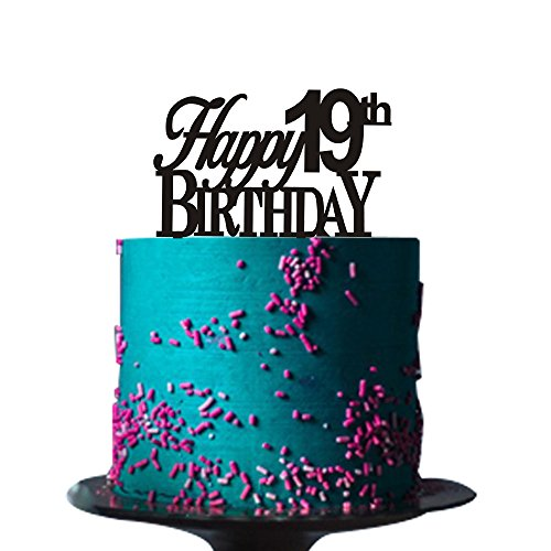 Happy 19th birthday cake topper for 19th birthday cake topper party decorations Black -