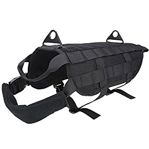 FLYMEI Tactical Molle Dog Vest Military Training Harness with Handle Control, Breathable Waterproof Dog Vest Harness for Medium and Large Dog(M)