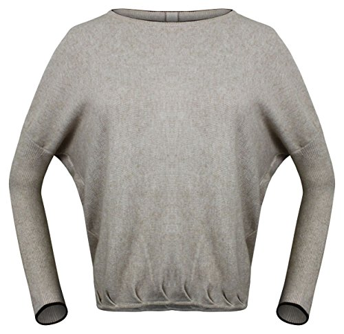 MADEBYKO Women's New Back Button Design Fashion Round Boat Neck Cashmere Sweater With Long Dolman Sleeve (Beige)