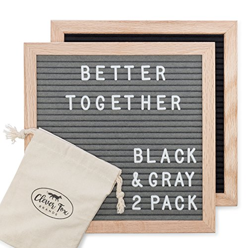 Two Felt Letter Boards | 2 Pack Black and Gray 10x10 Changeable Peg Message Boards, 680 White Letters, Numbers, Symbols and Emojis | Two Easel Stands & Canvas Pouches Included | Real Oak Wood Frame by Clever Fox Brands