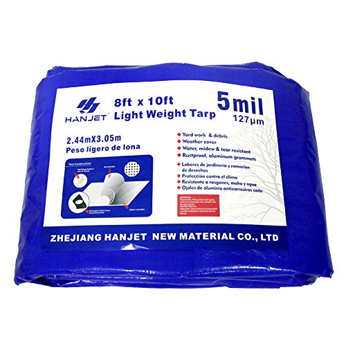 Lightweight Outdoor Tarp Hanjet 8 x 10 Feet 5 Mil Multi-purpose Waterproof Reinforced Durable Rip-Stop with Grommets Blue 10 Tarps