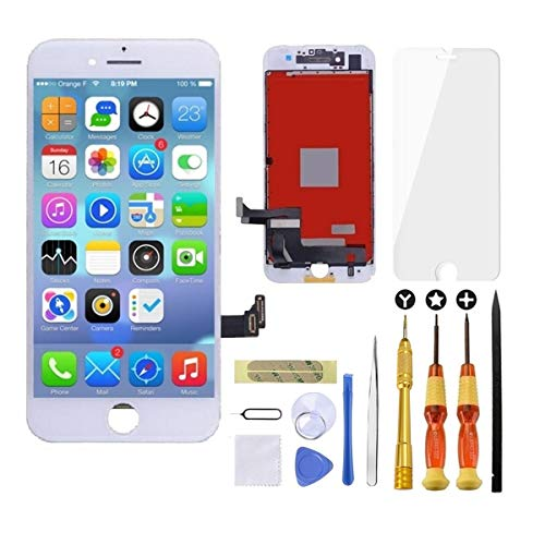 Goldwangwang iPhone 7 Plus Screen Replacement White,5.5inch 3D Touch LCD Screen Digitizer Replacement Frame Display Assembly Set with Repair Tool kit + Tempered Glass Screen Protector + Instruction (Best Way To Fix Iphone Screen)