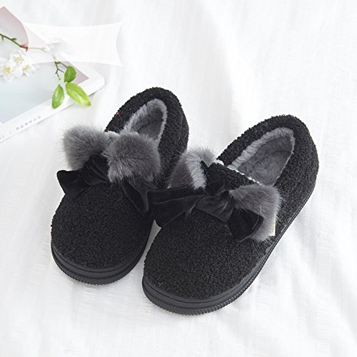 Cómodo Paquete con zapatillas de algodón Zapatillas femeninas gruesas de otoño e invierno Zapatillas interiores antideslizantes de interior cálidas Zapatillas suaves de mesilla baja (4 colores opciona D