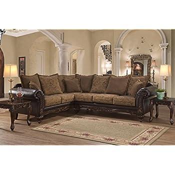 Genial Roundhill Furniture LHU7685SEC San Marino Chocolate Solid Wood Frame  Sectional Sofa