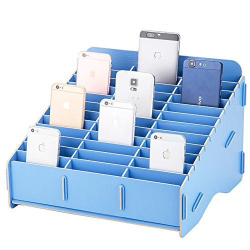 Loghot Wooden 36 Storage Compartments Multifunctional Storage Box for Cell Phones Holder Desk Supplies Organizer (Lake Blue)