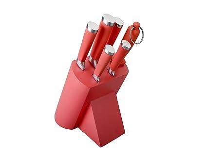 Lacor - 39066 - Taco 5 cuchillos + Chaira- Rojo