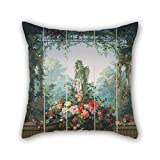 quilted velour throw - Throw Cushion Covers Of Oil Painting Designed By ?douard Muller (called Rosenmuller), French Or Swiss - Garden Of Armida Wallpaper 20 X 20 Inches / 50 By 50 Cm Best Fit For Gf Bar Seat Indoor Adul