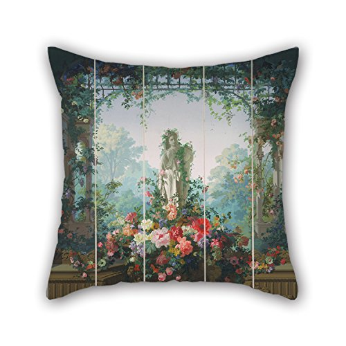 16 X 16 Inches / 40 By 40 Cm Oil Painting Designed By ?douard Muller (called Rosenmuller), French Or Swiss - Garden Of Armida Wallpaper Cushion Cases Each Side Is - Needlepoint Shells Natural