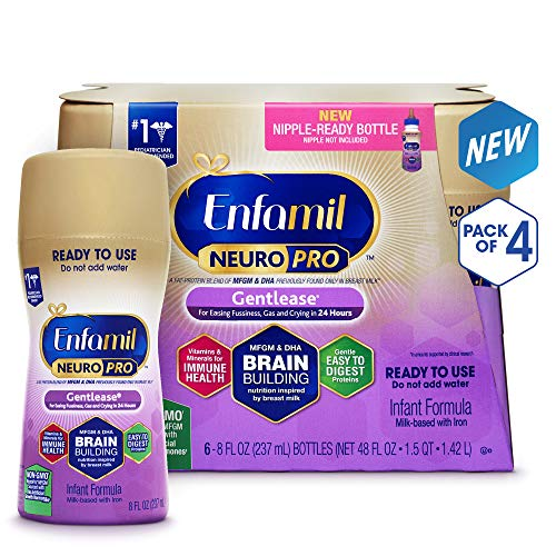 - Enfamil NeuroPro Gentlease Ready to Feed Baby Formula Milk, 8 fluid ounce (24 count) - MFGM, Omega 3 DHA, Probiotics, Iron & Immune Support