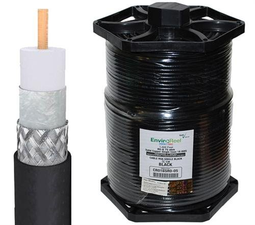 Perfect Vision RG6 Coax, Single RG6 Solid Copper, Black 1000FT EnviroReel by Perfect Vision