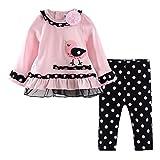 LittleSpring Baby Girls' Pants Set Little Bird Size 18M Pink