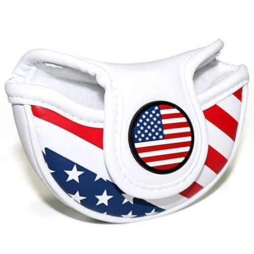 (Craftsman Golf Stars and Stripes USA America Flag Mid Mallet Putter Cover Half-Mallet Headcover for Scotty Cameron Odyssey Taylormade Rossa Midsize Putter (for a Heel/Offset-Shafted)