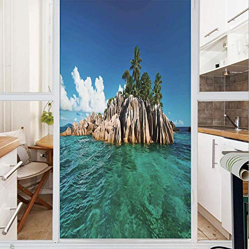 (Decorative Window Film,No Glue Frosted Privacy Film,Stained Glass Door Film,St. Pierre Island at Seychelles Natural Granite Relaxation Mediterranean,for Home & Office,23.6In. by 78.7In Jade Green Blue)