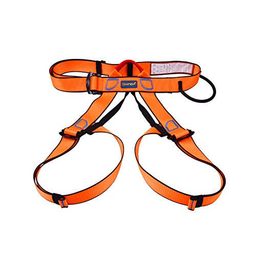Alouflower Climbing Harnesses Outdoor Safety Seat Belts for Rock Climbing Rappelling Tool (Orange)