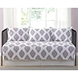 Annika Damask Purple Printed 5-piece Day Bed Set, Bedskirt Included