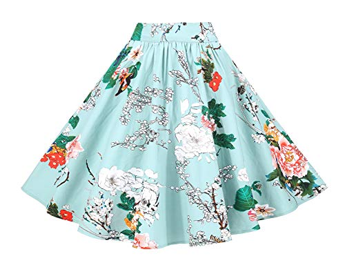 - BI.TENCON Women 1950s Vintage Floral Printed A-line Retro Full Flared Skirt Knee Length Casual Skirt in Light Green S